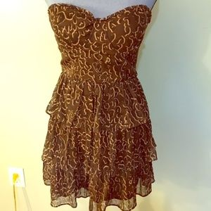 GUESS Bustier Ruffle Strapless Dress